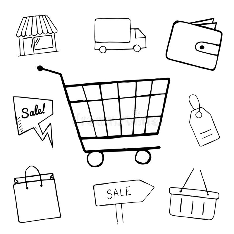 set business doodle icons shopping icons design hand drawn shop sale shopping bag basket objects 69736983 آموزش خرید و راه اندازی فروشگاه ساز پویا